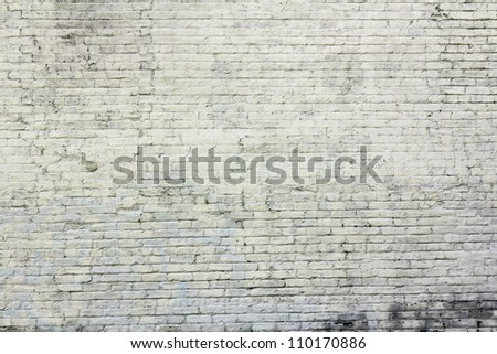 White brick aged wall - stock photo