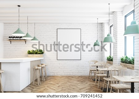 White brick cafe and bar interior with a wooden floor, a marble and wooden bar stand, chairs and tables. Poster on the wall. 3d rendering mock up