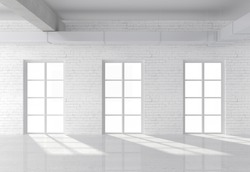 white brick loft with window