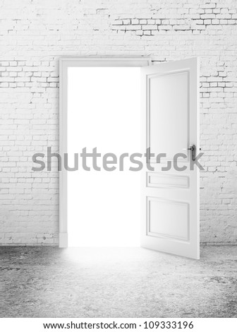 white brick room and open door  light
