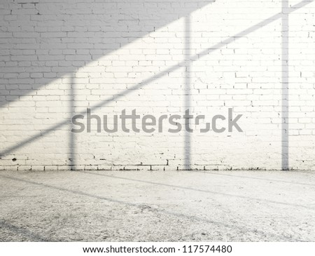 white brick room and sunlight