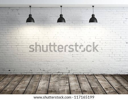 white brick room with ceiling lamp