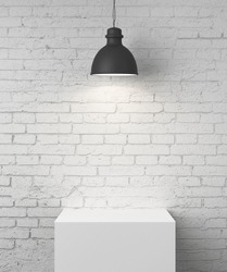 white brick room with podium and lamp