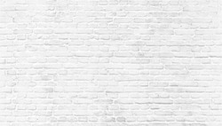 White brick wall texture. Home and office modern design backdrop. Painted bricks wall