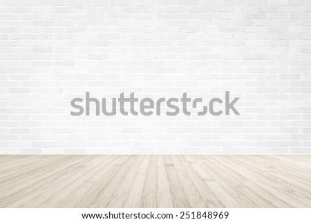 white wood floor background. White Brick Wall With Wooden Floor Background Wood N