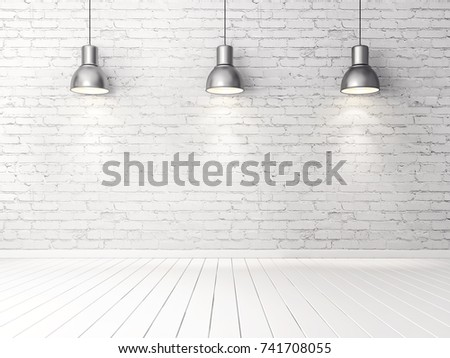 white bricks wall  with metal lamps. 3d illustration