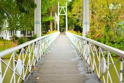White bridge in Brookside valley resort.