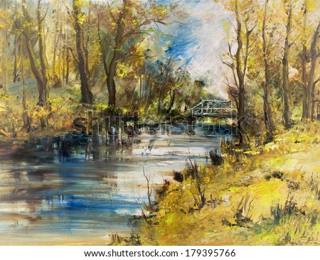 White bridge over the river, oil painting art background