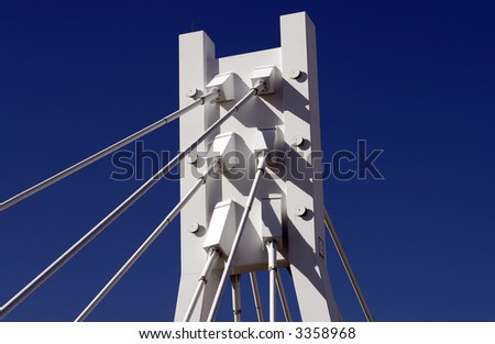 White Bridge Pylon, Steel Cables, Dark Blue Sky, Sydney, Australia