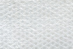 White Bubble Wrap Packing Or Air Cushion Film Abstract Horizontal Texture For Creative Art Work Background, Close Up, Top View, Copy Space