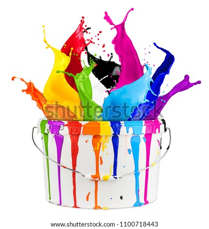 white bucket with colorful rainbow color paint splashes isolated on white background creative diy handyman renovation concept #1100718443