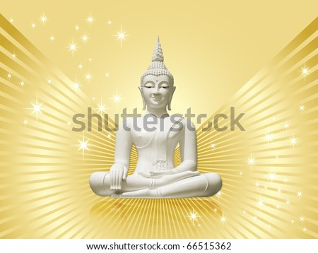 White buddha incl. clipping path, isolated against golden rays background with stars
