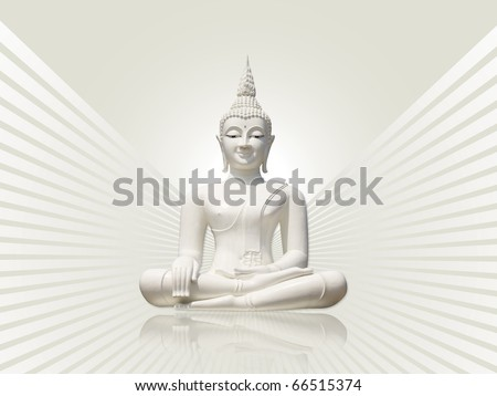 White buddha incl. clipping path, isolated against white gray rays background
