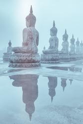 White buddha statue, reflection white buddha, Thailand