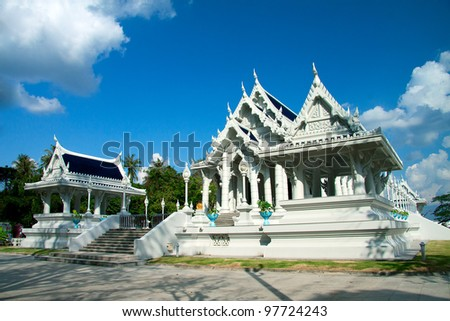 White buddhist temple in Krabi town - stock photo