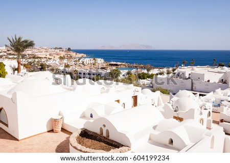 White building and hotel building, Sharm El Sheikh, Egypt #604199234