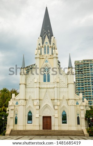 White building of a catholic church in europian quarter, Sanya, Hainan, China