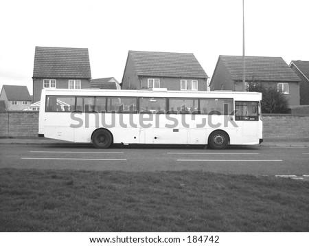 White bus on road