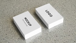 white business card template on a marble texture, clean mock up