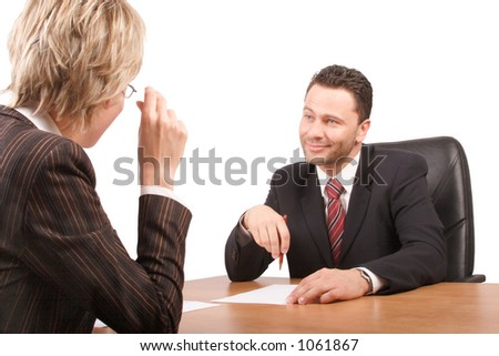 White business man and woman talking in the office building - isolated