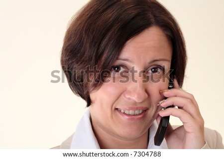 White businesswoman with handy