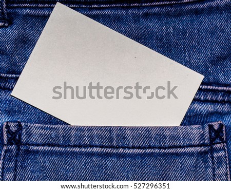 White Busness Card Calling Visiting On The Denim Cotton Jeans Background Presentation Introduction