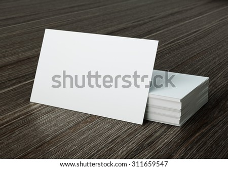 white bussiness card mockup on wood background