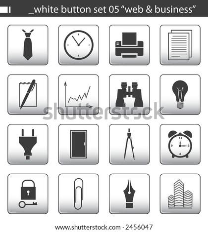 "white button set 05 ""web & business"" - stock photo"