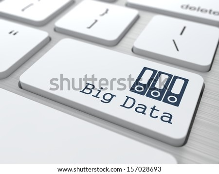 White Button with Big Data Icon on Computer Keyboard. Information Concept.