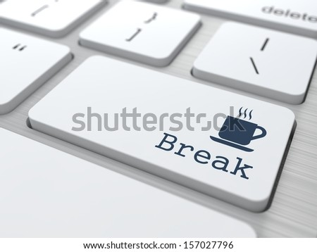 White Button with Break on Computer Keyboard. Business Concept.