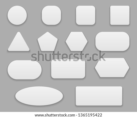 White buttons. Blank tags, white clear badge. Round square circle application button 3d isolated shapes #1365195422