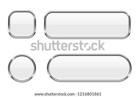 White buttons. Glass 3d icons with chrome frame. Illustration isolated on white background. Raster version #1216801861