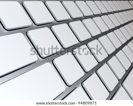 white buttons on a keyboard, 3d render