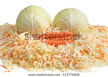 White Cabbage and Carrots. Chopping.