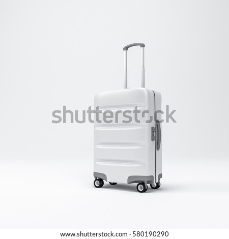White Cabin Luggage mockup, Suitcase, baggage, 3d rendering