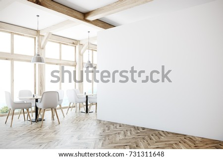 White cafe interior with tall windows, a wooden floor, gray sofas, square tables and white and wooden chairs. A blank wall, side view. 3d rendering mock up