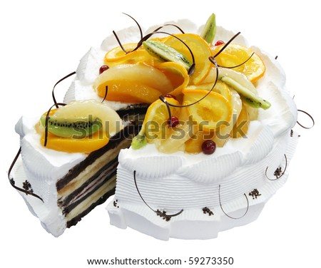White Cake with cherries and chocolate on the white background. (isolated)