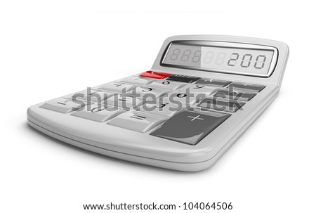 White calculator 3D. Science object. Isolated on white background
