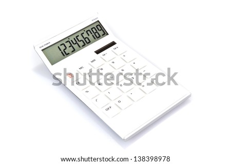 White calculator on the white background
