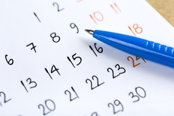 white calendar page for 2021 month schedule to make an appointment or manage the schedule every day with ballpoint pen for marks, for work planning and life concept