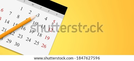 White calendar with pencil and month schedule to make appointment meeting Photo stock ©
