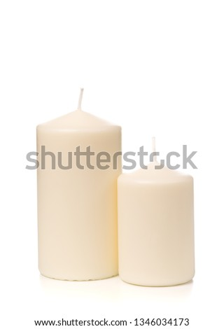 White candle on white background isolated. Set of wax candle. #1346034173