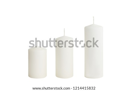White candle on white background isolated. Set of wax candle. Christmas decor #1214415832