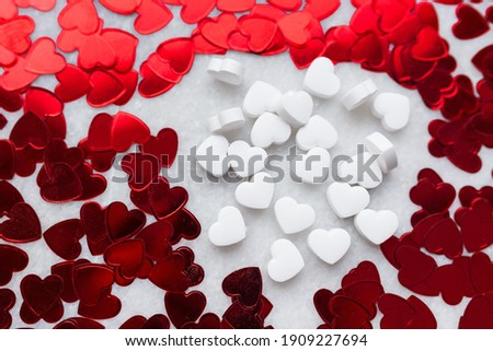 White Candy And Foli Hearts for valentine Stock fotó ©