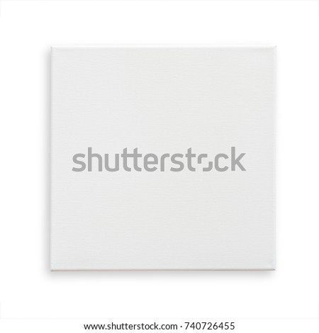 White canvas frame mock up template square size isolated on white background with clipping path for arts painting and photo hanging interior decoration #740726455