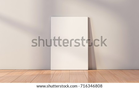 White Canvas Mockup standing on the floor in empty room. 3d rendering