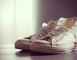 White canvas shoes, youth culture and style.
