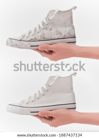 White canvas sneakers before and after cleaning comparison. Hand holding the same shoe, dirty and fresh. Photo stock ©
