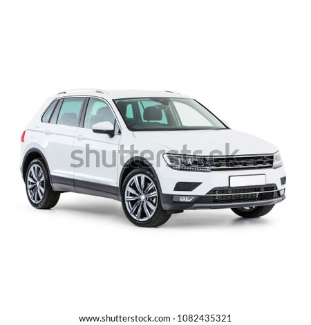 White Car Isolated on White Background. Side View of Generic SUV Automobile. Crossover Utility Vehicle. 3D Rendering