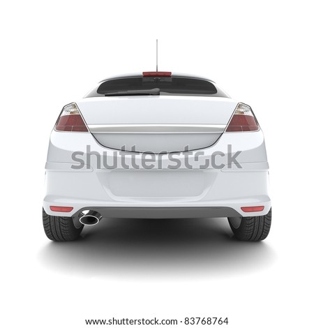 White car on a white background. 3d illustration